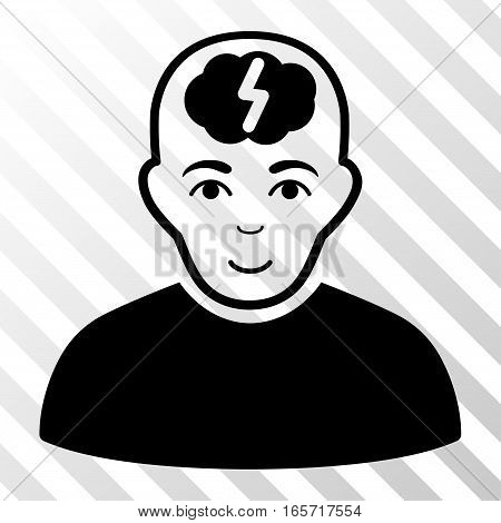 Black Clever Boy interface toolbar pictogram. Vector pictograph style is a flat symbol on diagonally hatched transparent background.