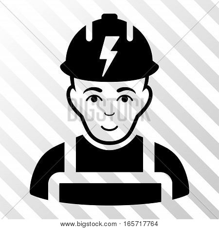 Black Electrician interface pictogram. Vector pictogram style is a flat symbol on diagonal hatch transparent background.