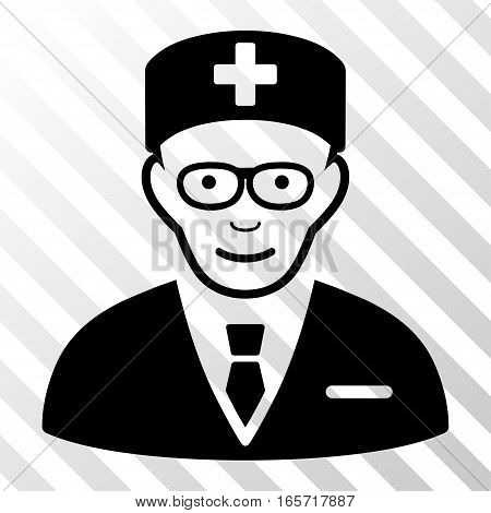 Black Head Physician interface icon. Vector pictogram style is a flat symbol on diagonal hatch transparent background.