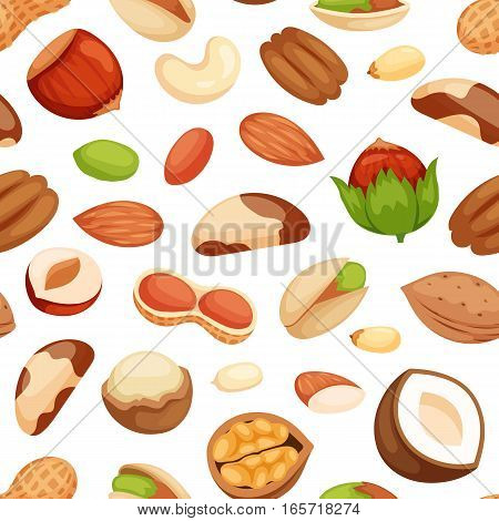 Seamless pattern with illustrations of uts vector. Vegetarian background ingredient natural organic healthy snack. Tasty eating seed diet food design.