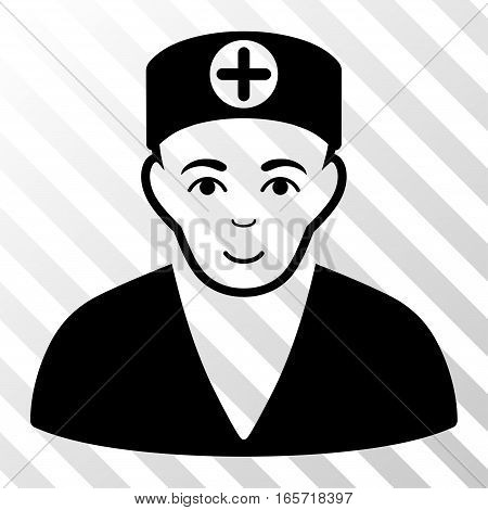 Black Medic interface toolbar pictogram. Vector pictogram style is a flat symbol on diagonal hatch transparent background.