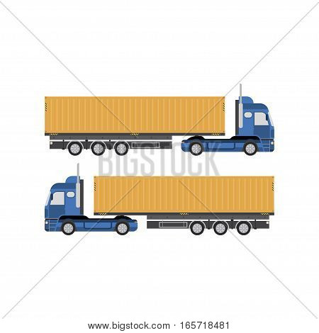Big truck with container vector illustration on white background. View the front and side.