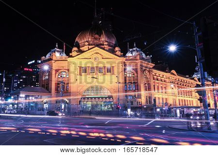 Melbourne, Australia - August 17, 2016: Flinders Street Railway Station In Central Melbourne City, A