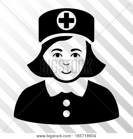 Black Nurse toolbar icon. Vector pictograph style is a flat symbol on diagonally hatched transparent background.