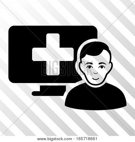 Black Online Medicine toolbar pictogram. Vector pictogram style is a flat symbol on diagonally hatched transparent background.