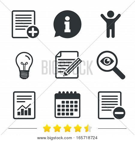 File document icons. Document with chart or graph symbol. Edit content with pencil sign. Add file. Information, light bulb and calendar icons. Investigate magnifier. Vector