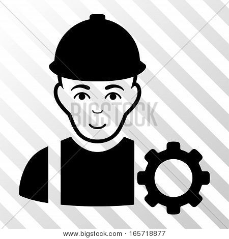 Black Repairman toolbar pictogram. Vector pictograph style is a flat symbol on diagonally hatched transparent background.