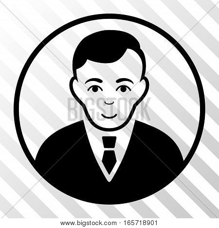 Black Rounded Gentleman toolbar icon. Vector pictograph style is a flat symbol on diagonally hatched transparent background.