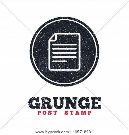 Grunge post stamp. Circle banner or label. File document icon. Download doc button. Doc file symbol. Dirty textured web button. Vector