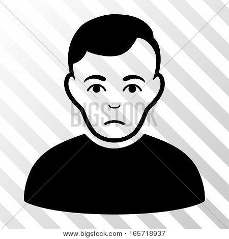 Black Sad Man toolbar icon. Vector pictograph style is a flat symbol on diagonally hatched transparent background.