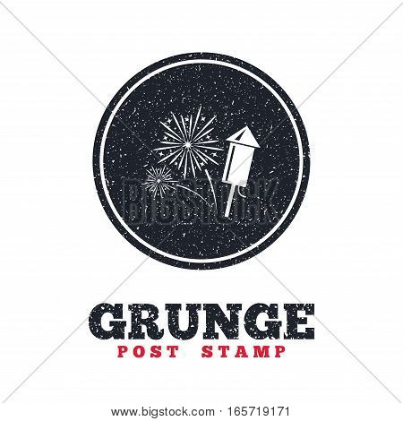 Grunge post stamp. Circle banner or label. Fireworks with rocket sign icon. Explosive pyrotechnic symbol. Dirty textured web button. Vector