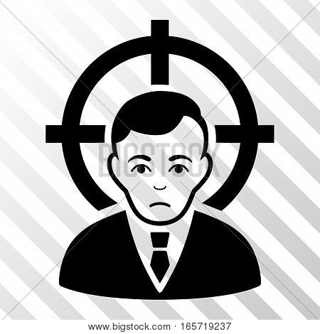 Black Victim Businessman interface toolbar pictogram. Vector pictogram style is a flat symbol on diagonal hatch transparent background.