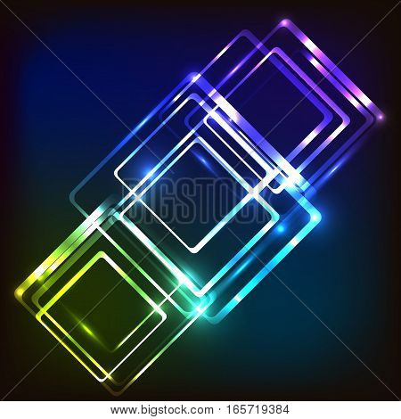 Abstract glowing background with rounded rectangles, stock vector