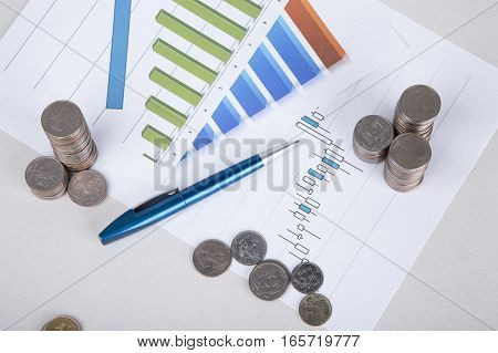 Concept. Business. Picture Of The Coins - Investment And Interest.