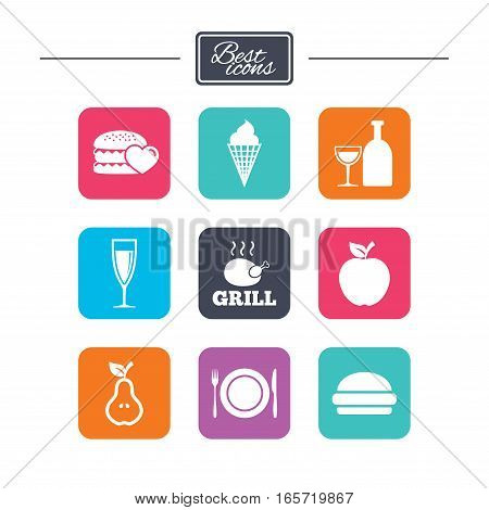 Food, drink icons. Grill, burger and ice cream signs. Chicken, champagne and apple symbols. Colorful flat square buttons with icons. Vector
