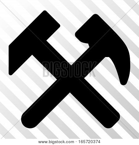 Black Work toolbar icon. Vector pictogram style is a flat symbol on diagonally hatched transparent background.