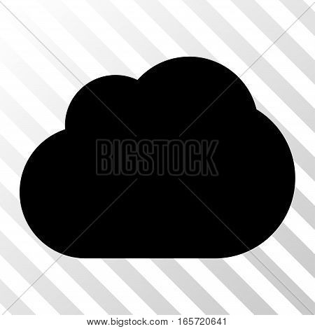Black Cloud toolbar pictogram. Vector pictograph style is a flat symbol on diagonally hatched transparent background.