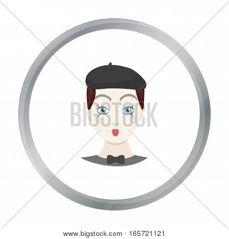 Mime artist icon in cartoon style isolated on white background. Event service symbol vector illustration.