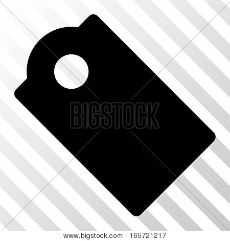 Black Tag toolbar icon. Vector pictograph style is a flat symbol on diagonally hatched transparent background.