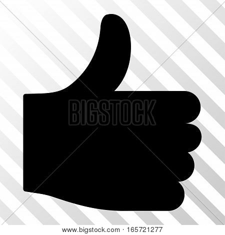 Black Thumb Up interface toolbar icon. Vector pictograph style is a flat symbol on diagonally hatched transparent background.