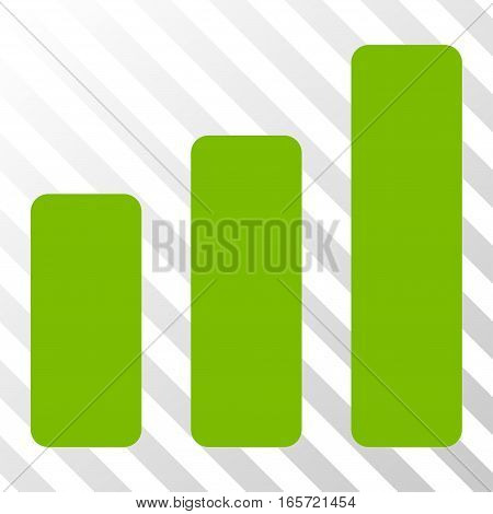 Eco Green Bar Chart Increase toolbar pictogram. Vector pictograph style is a flat symbol on diagonal hatch transparent background.