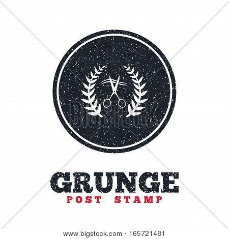 Grunge post stamp. Circle banner or label. Scissors cut hair sign icon. Hairdresser or barbershop laurel wreath symbol. Winner award. Dirty textured web button. Vector