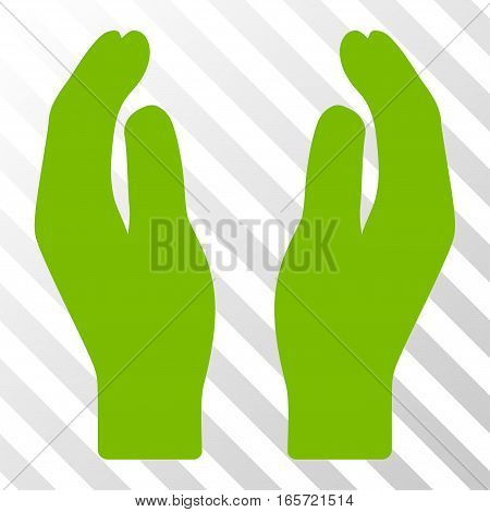 Eco Green Care Hands interface toolbar pictogram. Vector pictogram style is a flat symbol on diagonally hatched transparent background.