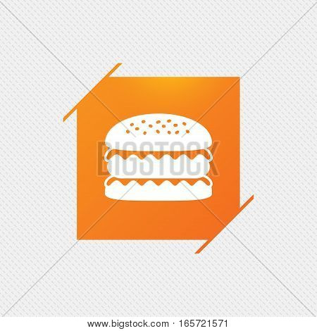 Hamburger icon. Burger food symbol. Cheeseburger sandwich sign. Orange square label on pattern. Vector