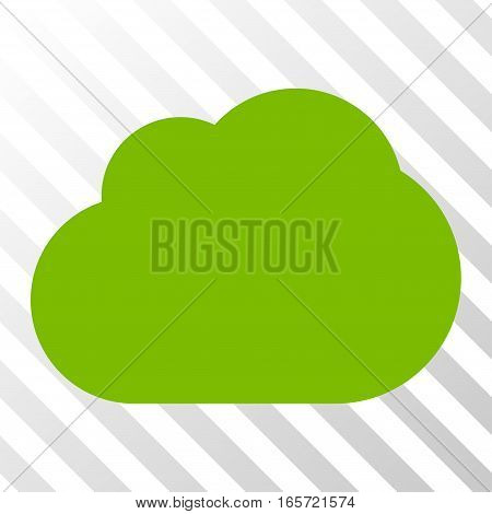 Eco Green Cloud interface pictogram. Vector pictogram style is a flat symbol on diagonally hatched transparent background.