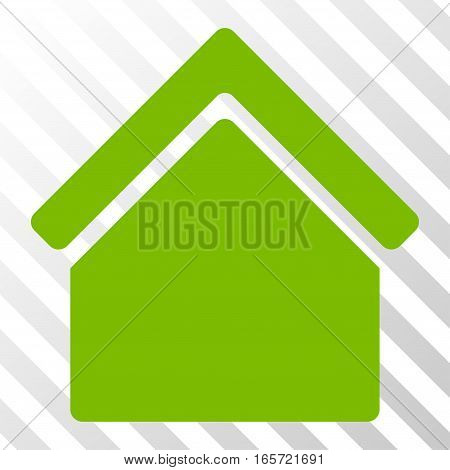 Eco Green Home toolbar pictogram. Vector pictogram style is a flat symbol on diagonally hatched transparent background.