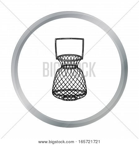 Fishing net icon in cartoon design isolated on white background. Fishing symbol stock vector illustration.