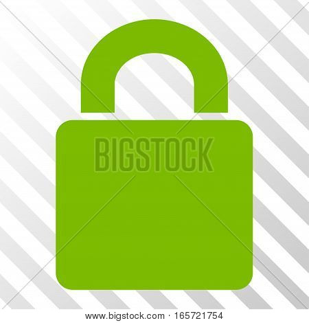 Eco Green Lock toolbar icon. Vector pictogram style is a flat symbol on diagonal hatch transparent background.