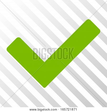 Eco Green Ok interface icon. Vector pictogram style is a flat symbol on diagonal hatch transparent background.