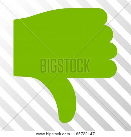Eco Green Thumb Down toolbar pictogram. Vector pictogram style is a flat symbol on diagonal hatch transparent background.
