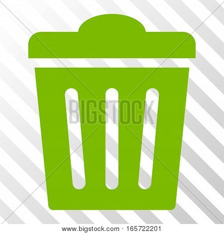 Eco Green Trash Can toolbar pictogram. Vector pictograph style is a flat symbol on diagonally hatched transparent background.