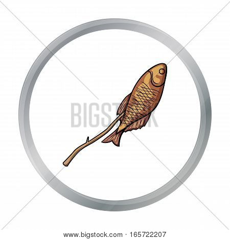 Fried fish icon in cartoon design isolated on white background. Fishing symbol stock vector illustration.