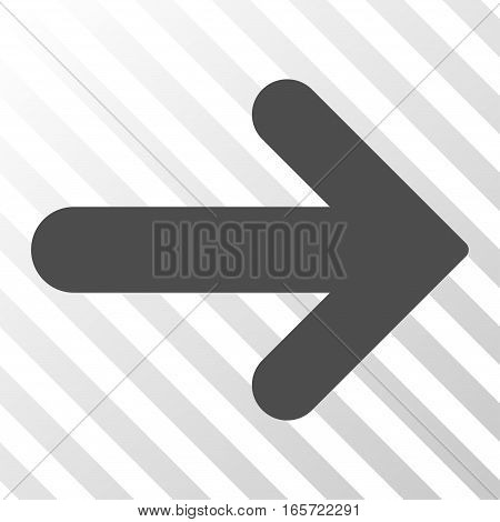 Gray Arrow Right interface toolbar icon. Vector pictograph style is a flat symbol on diagonally hatched transparent background.