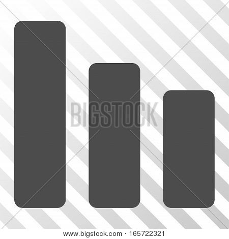 Gray Bar Chart Decrease interface toolbar pictogram. Vector pictograph style is a flat symbol on diagonal hatch transparent background.