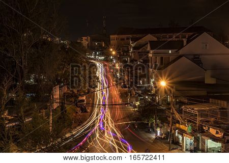 Night street in Da Lat city in Vietnam