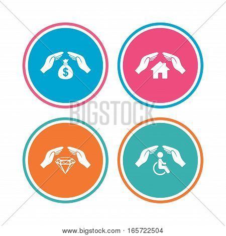 Hands insurance icons. Money bag savings insurance symbols. Disabled human help symbol. House property insurance sign. Colored circle buttons. Vector