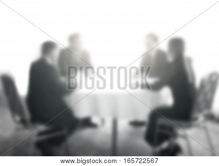 Abstract blur conference room of administrators and teacher. Meeting event planning and taught at the university,primary level. Blurry public business conventions background brown sepia tone.