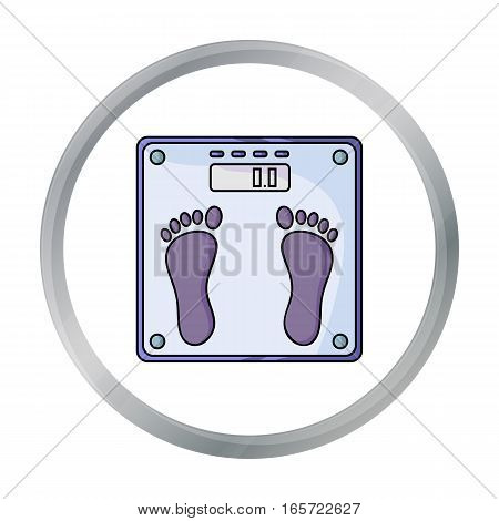 Weighing scale icon in cartoon style isolated on white background. Sport and fitness symbol vector illustration.