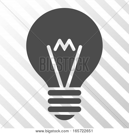 Gray Hint Bulb toolbar pictogram. Vector pictogram style is a flat symbol on diagonal hatch transparent background.