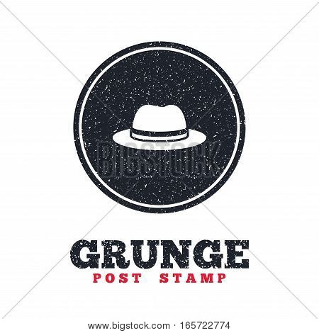 Grunge post stamp. Circle banner or label. Top hat sign icon. Classic headdress symbol. Dirty textured web button. Vector