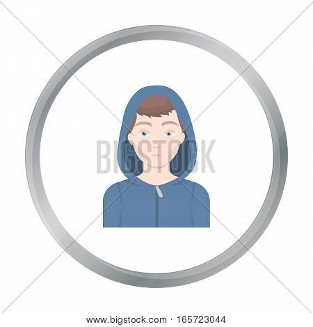Drug addict man icon in cartoon style isolated on white background. Drugs symbol vector illustration.