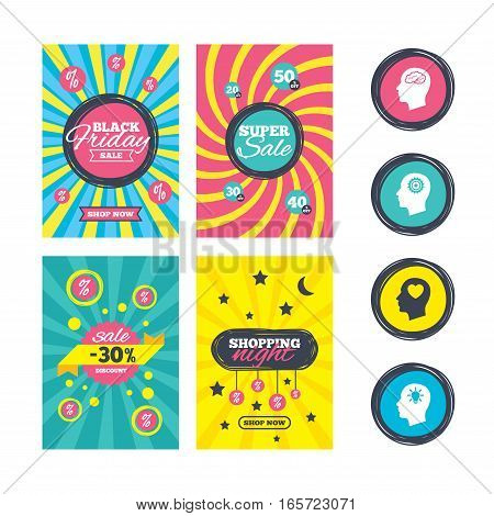 Sale website banner templates. Head with brain and idea lamp bulb icons. Male human think symbols. Cogwheel gears signs. Love heart. Ads promotional material. Vector