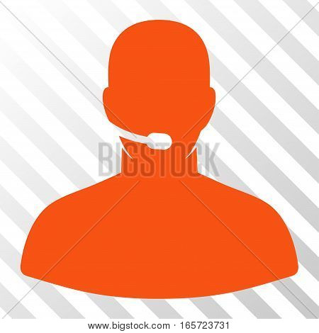 Orange Call Center Operator interface toolbar pictogram. Vector pictogram style is a flat symbol on diagonal hatch transparent background.