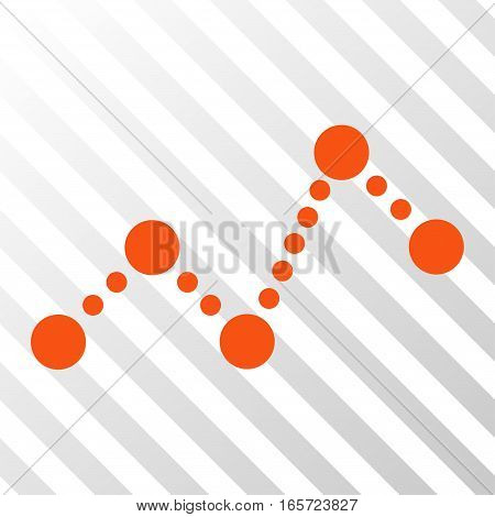 Orange Chart interface toolbar pictogram. Vector pictograph style is a flat symbol on diagonally hatched transparent background.