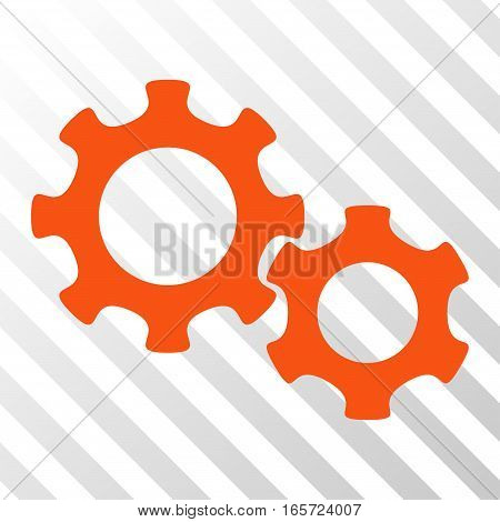 Orange Gears interface icon. Vector pictogram style is a flat symbol on diagonal hatch transparent background.