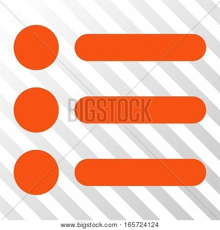 Orange Items interface icon. Vector pictograph style is a flat symbol on diagonal hatch transparent background.